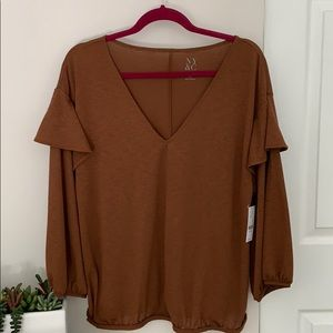 Copper V-neck boho top, NWT!